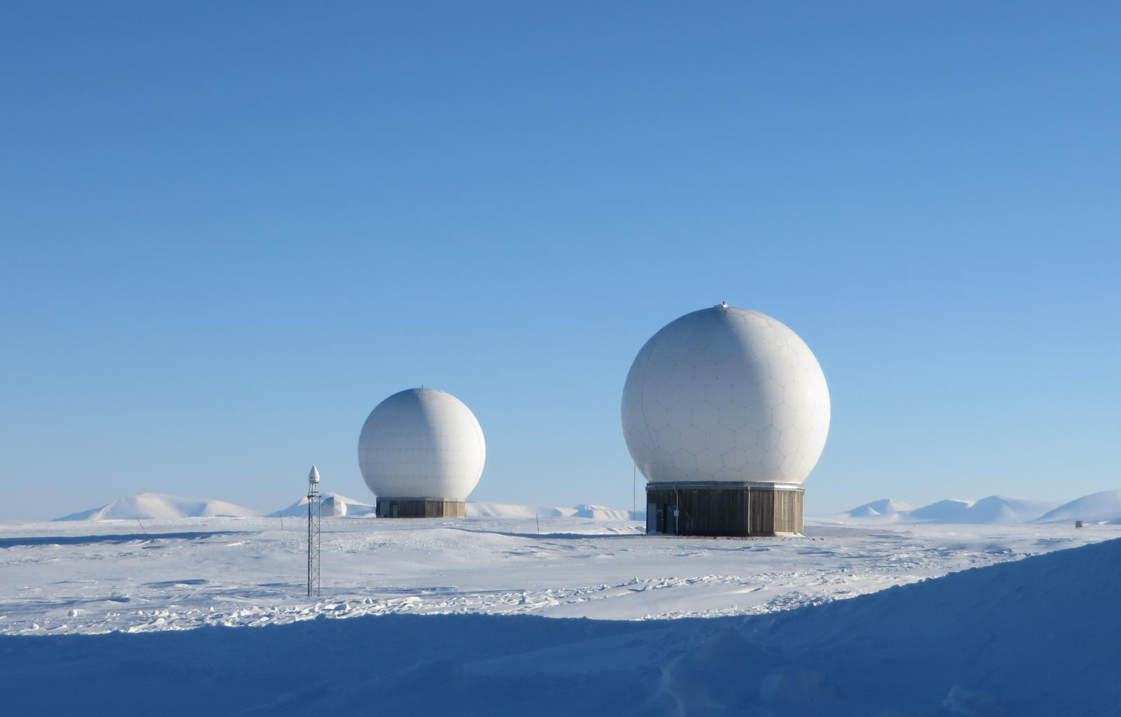 Two Arctic radar domes