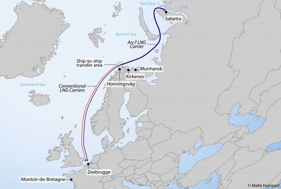 Map showing Novatek's winter operation delivering LNG from Sabetta to Europe onboard Arc7 carriers or conventional carriers after ship-to-ship transfer off northern Norway. (Source: Author's own work)