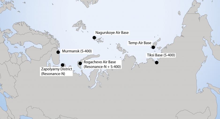 Localização de bases militares russas selecionadas, incluindo radar Resonance-N e instalações antiaéreas S-400. (Fonte: trabalho do próprio autor)