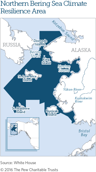 Map showing The Northern Bering Sea and Bering Strait Region. (Source: White House/The Pew Charitable Trusts)