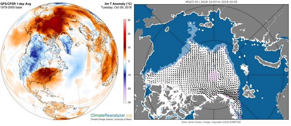 Graph showing above-average temperatures across much of the Arctic and map showing ice being pushed together along the north and east side of Greenland by high winds. (Source: Climate Reanalyzer, Climate Change Institute, University of Maine, USA and EUMETSAT)